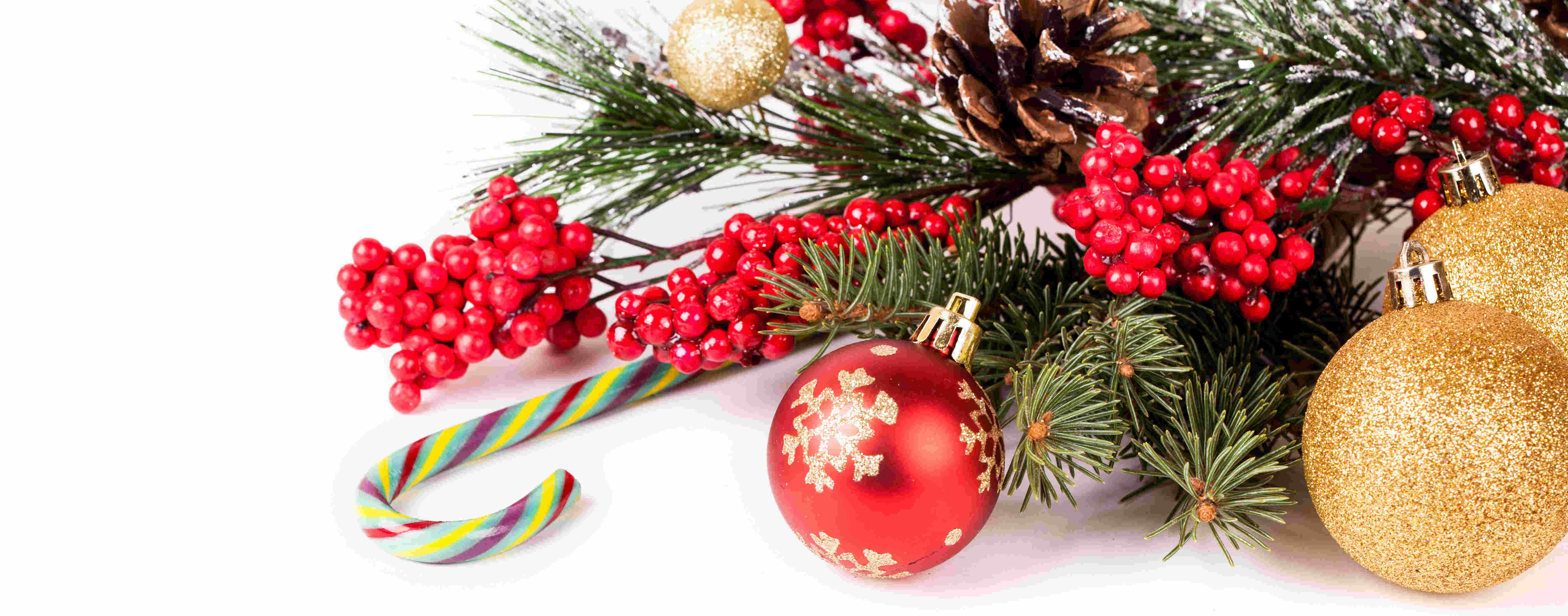 Christmas Background With A Red Ornament Studio Shot